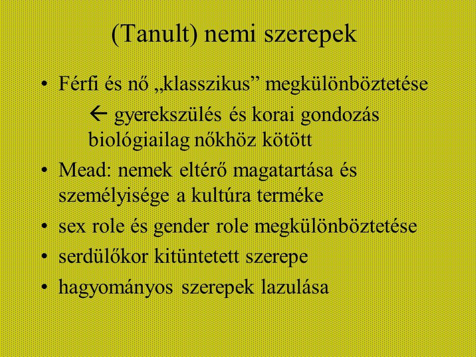 (Tanult) nemi szerepek