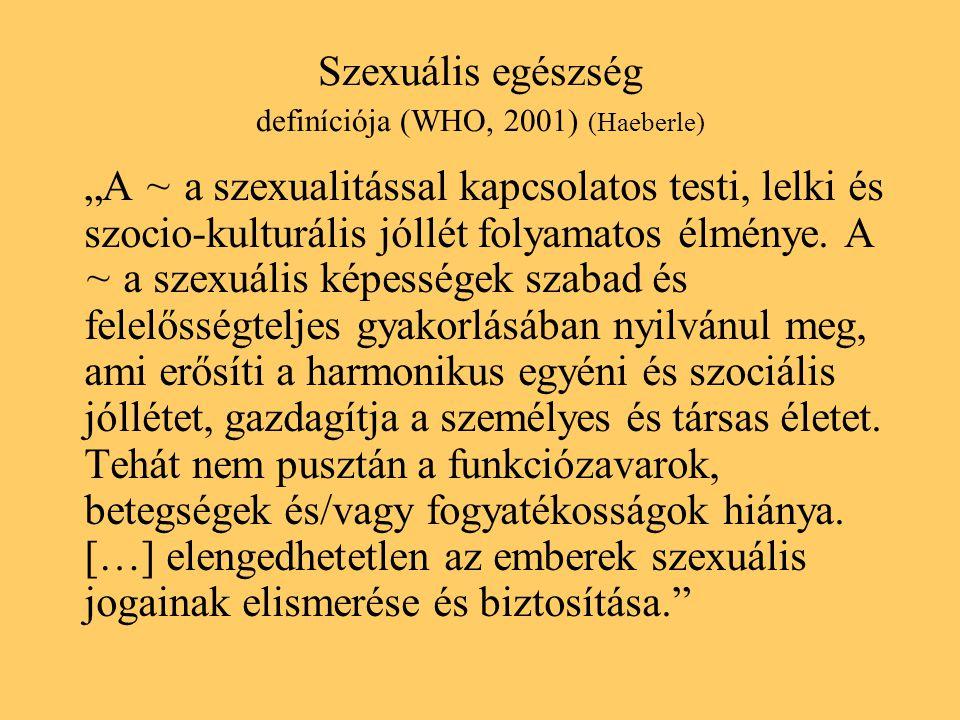 Szexuális egészség definíciója (WHO, 2001) (Haeberle)