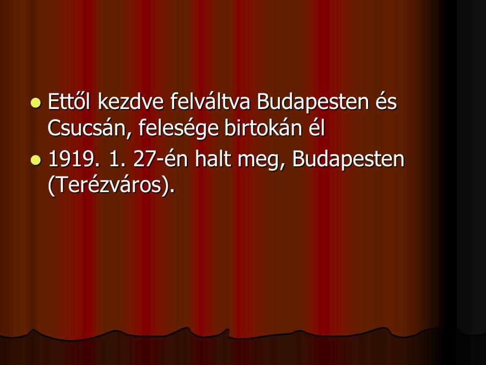 Ettől kezdve felváltva Budapesten és Csucsán, felesége birtokán él