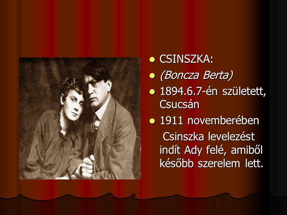 CSINSZKA: (Boncza Berta) 1894.6.7-én született, Csucsán.