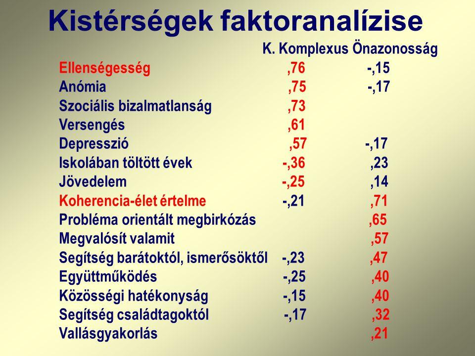 Kistérségek faktoranalízise