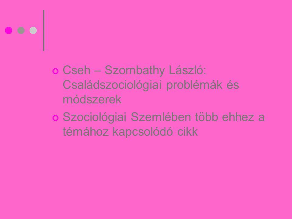 Cseh – Szombathy László: Családszociológiai problémák és módszerek