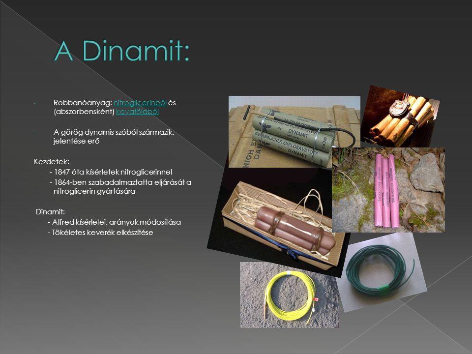 A Dinamit: Robbanóanyag: nitroglicerinből és (abszorbensként) kovaföldből. A görög dynamis szóból származik, jelentése erő.