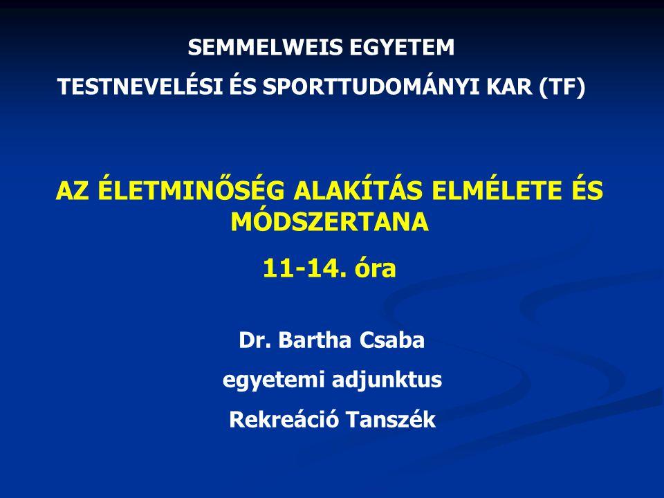 AZ ÉLETMINŐSÉG ALAKÍTÁS ELMÉLETE ÉS MÓDSZERTANA 11-14. óra