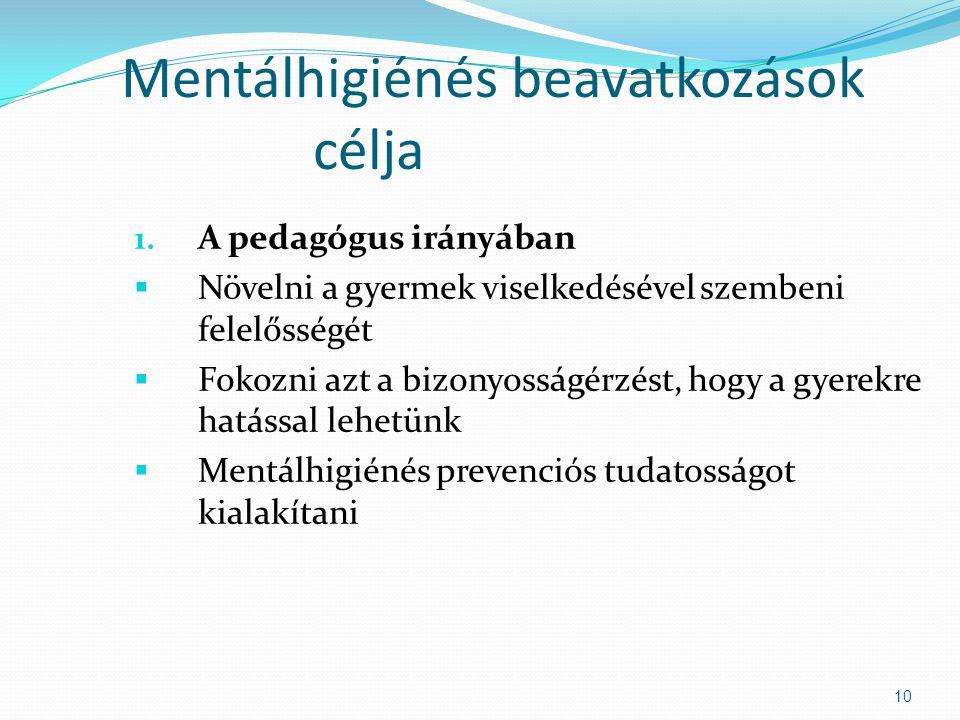 Mentálhigiénés beavatkozások célja