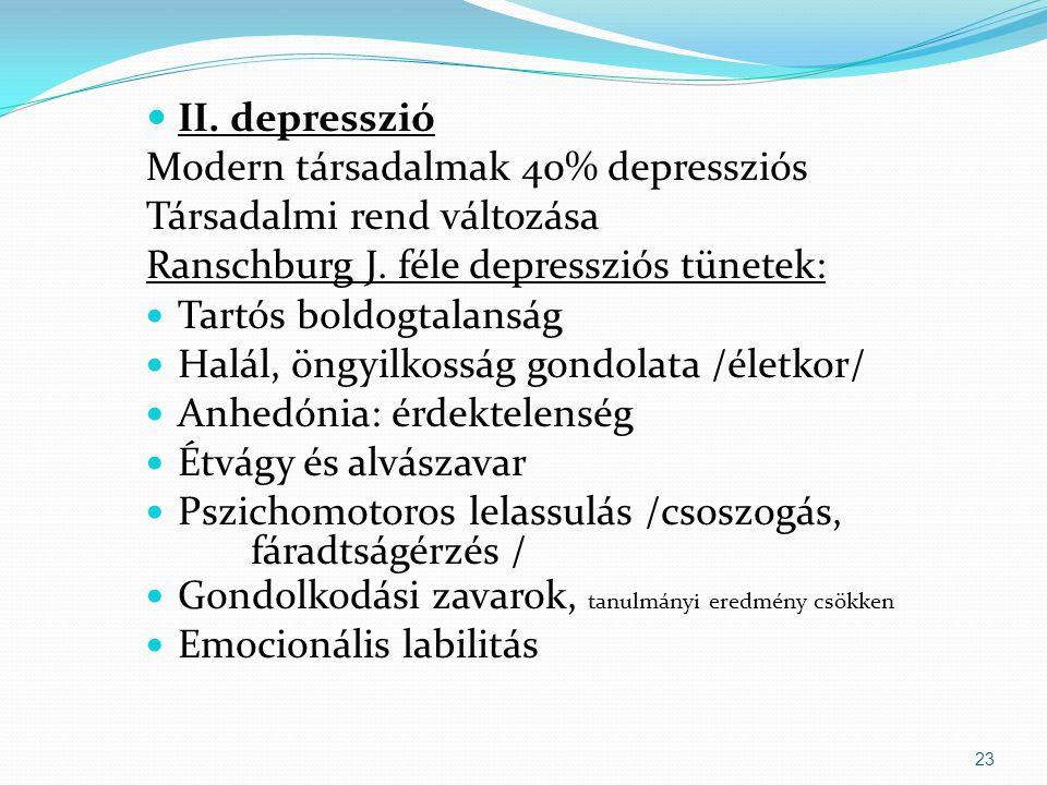 II. depresszió Modern társadalmak 40% depressziós. Társadalmi rend változása. Ranschburg J. féle depressziós tünetek: