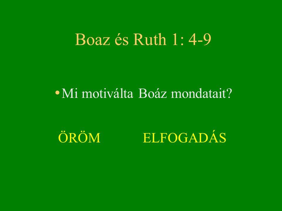 Boaz és Ruth 1: 4-9 Mi motiválta Boáz mondatait ÖRÖM ELFOGADÁS