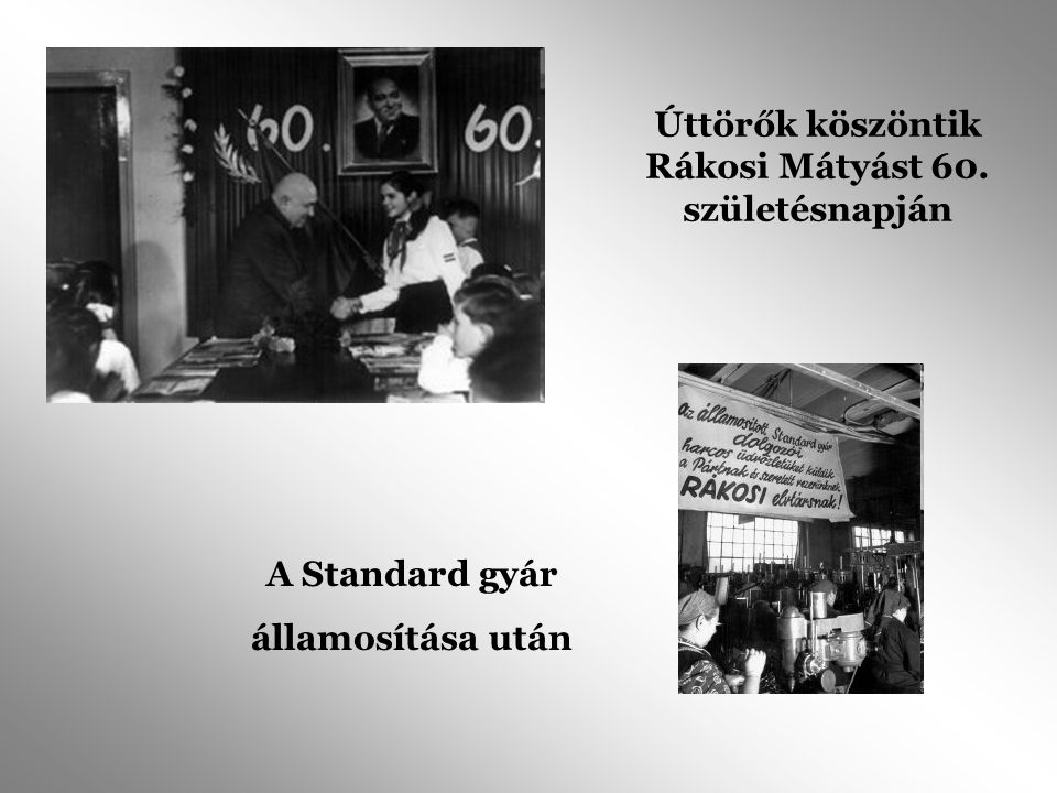 Úttörők köszöntik Rákosi Mátyást 60. születésnapján