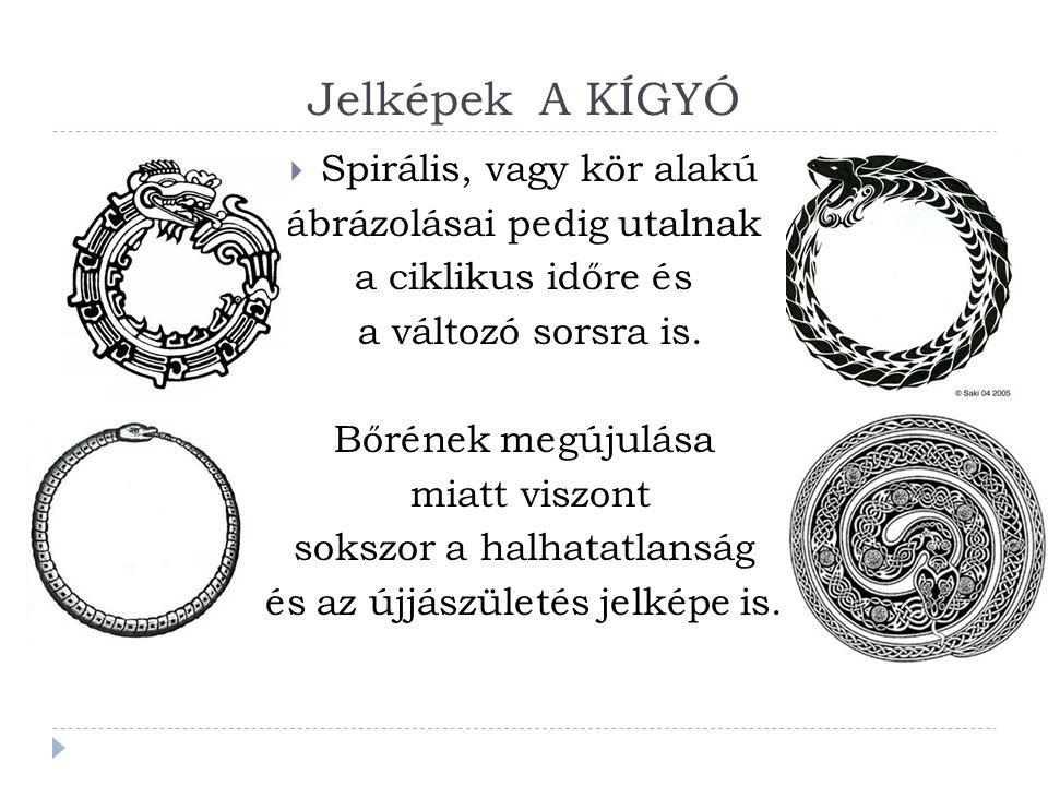 Jelképek A KÍGYÓ Spirális, vagy kör alakú ábrázolásai pedig utalnak
