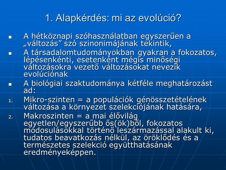 1. Alapkérdés: mi az evolúció