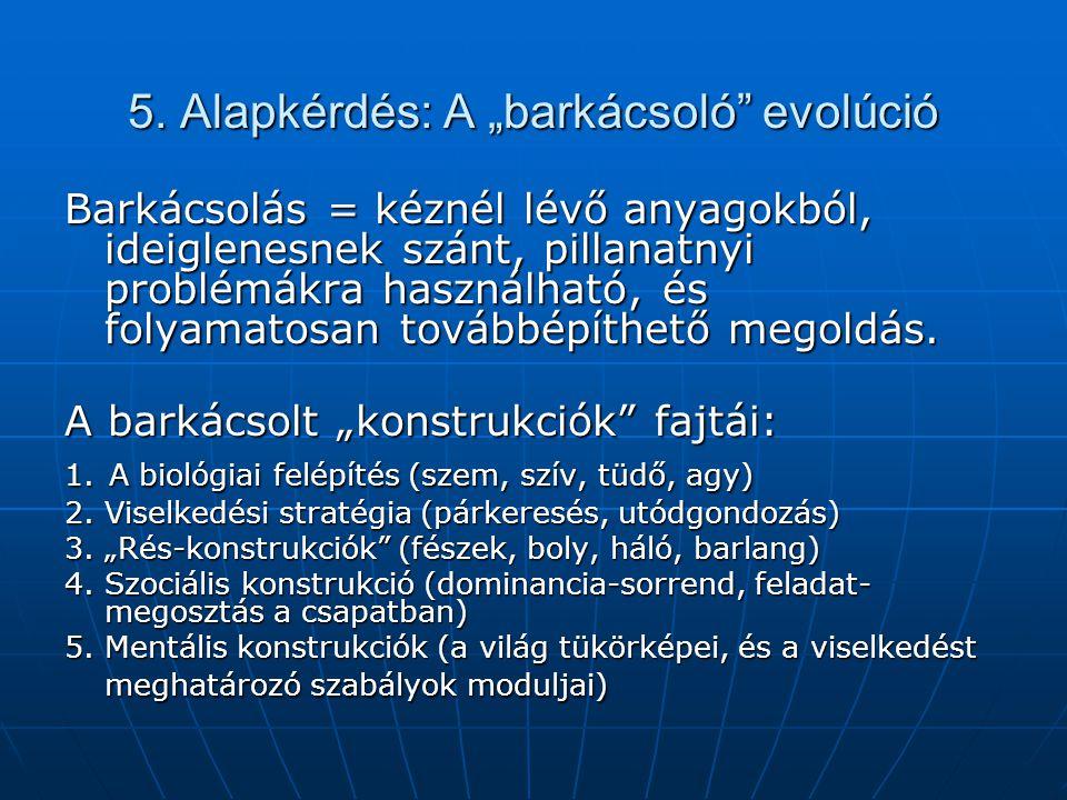 """5. Alapkérdés: A """"barkácsoló evolúció"""