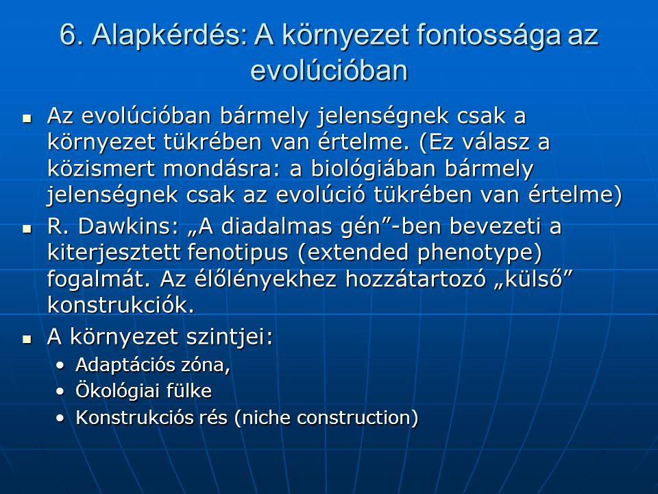 6. Alapkérdés: A környezet fontossága az evolúcióban