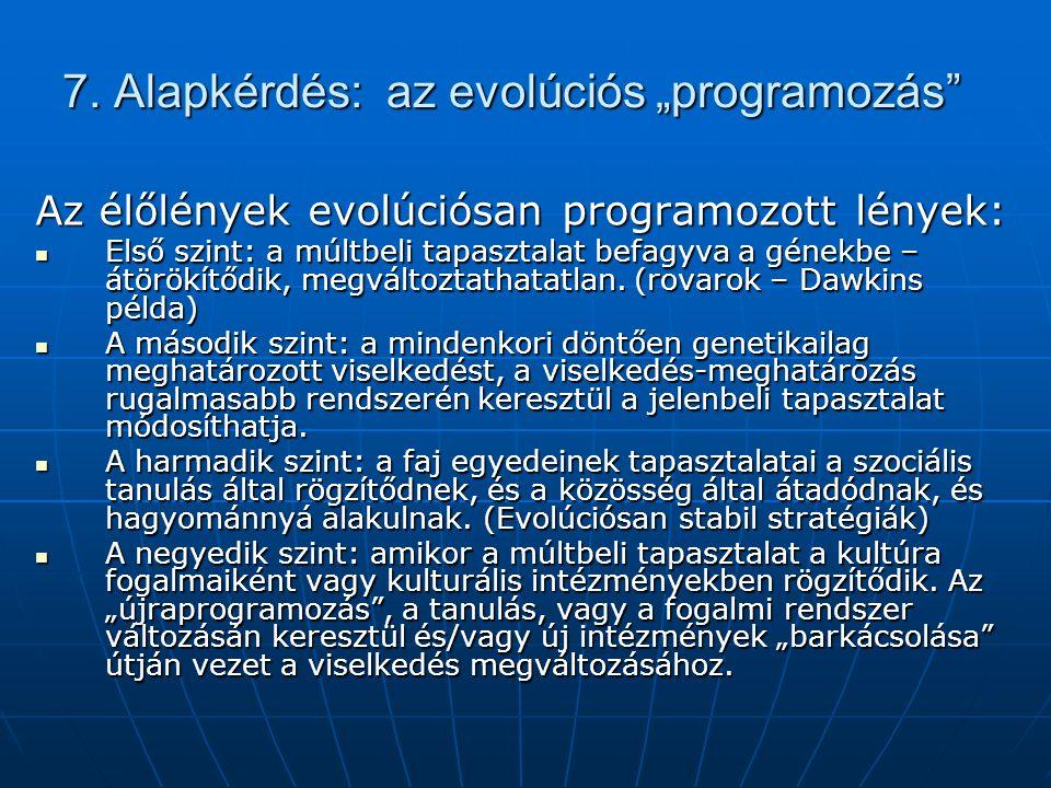 """7. Alapkérdés: az evolúciós """"programozás"""