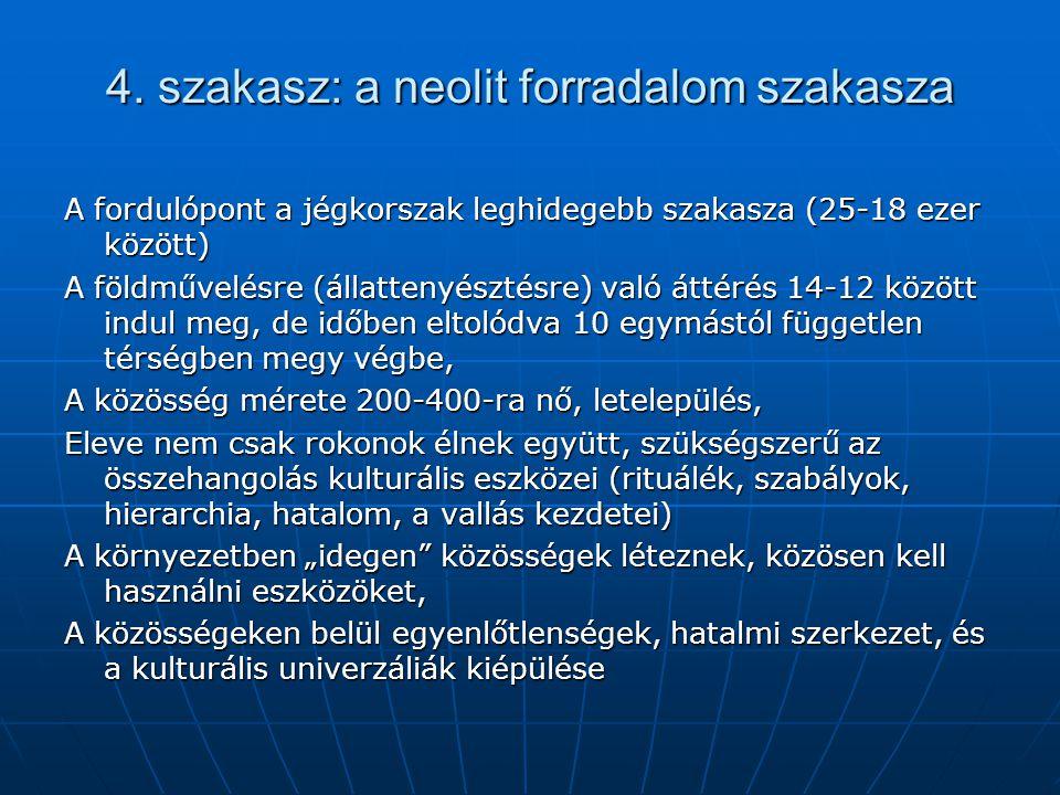4. szakasz: a neolit forradalom szakasza