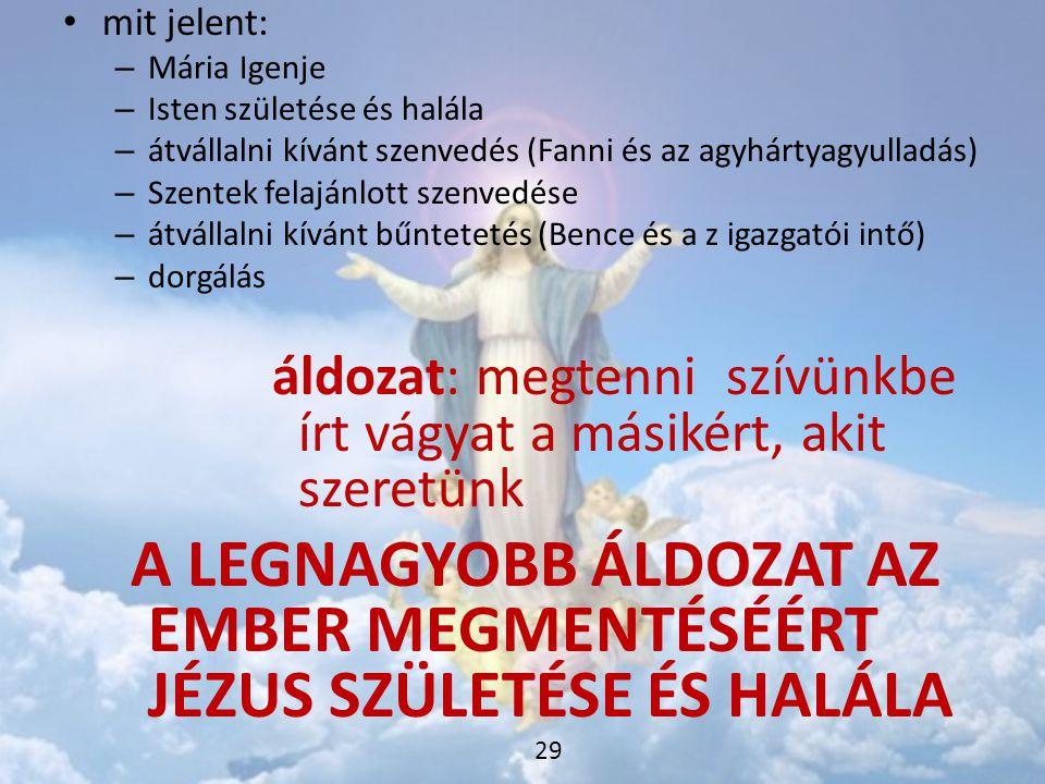 A LEGNAGYOBB ÁLDOZAT AZ EMBER MEGMENTÉSÉÉRT JÉZUS SZÜLETÉSE ÉS HALÁLA