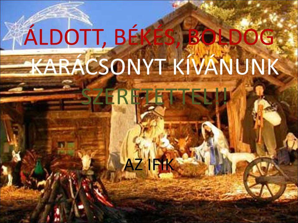 ÁLDOTT, BÉKÉS, BOLDOG KARÁCSONYT KÍVÁNUNK SZERETETTEL!!