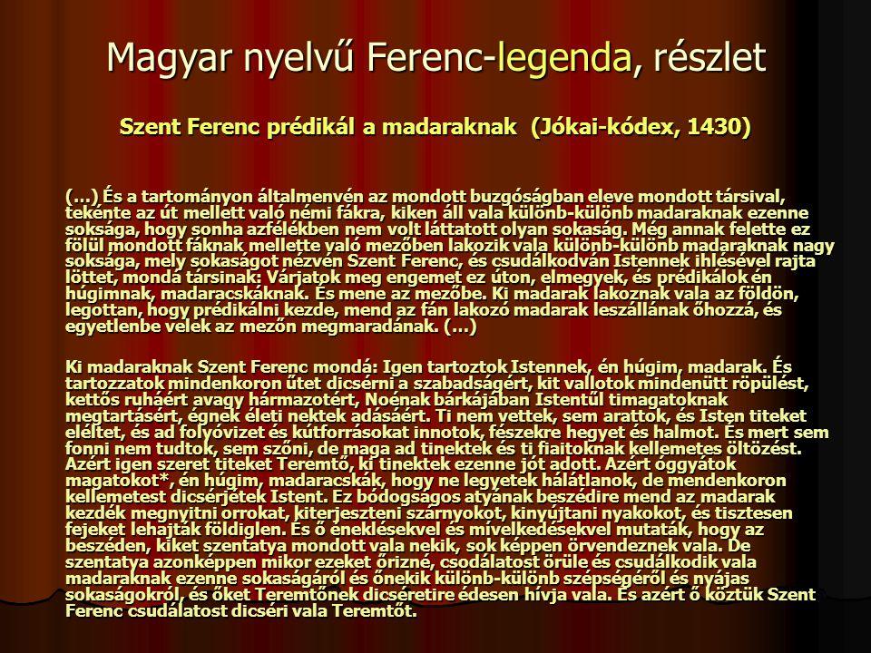Magyar nyelvű Ferenc-legenda, részlet