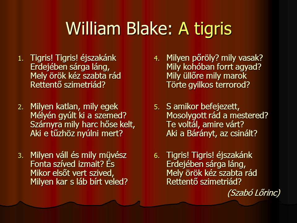 William Blake: A tigris