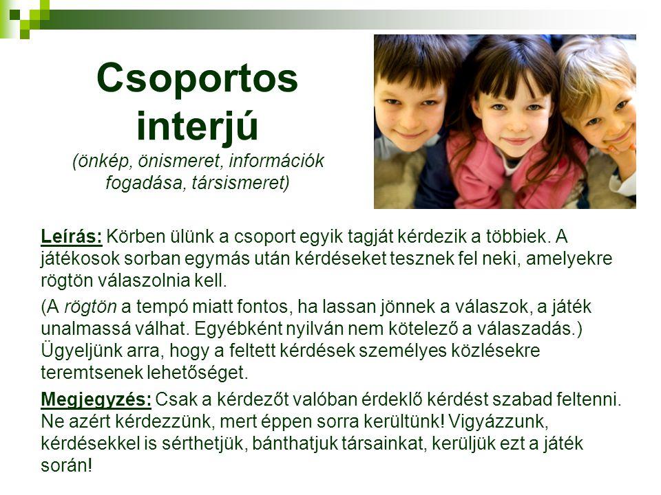 Csoportos interjú (önkép, önismeret, információk fogadása, társismeret)