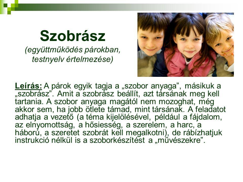 Szobrász (együttműködés párokban, testnyelv értelmezése)