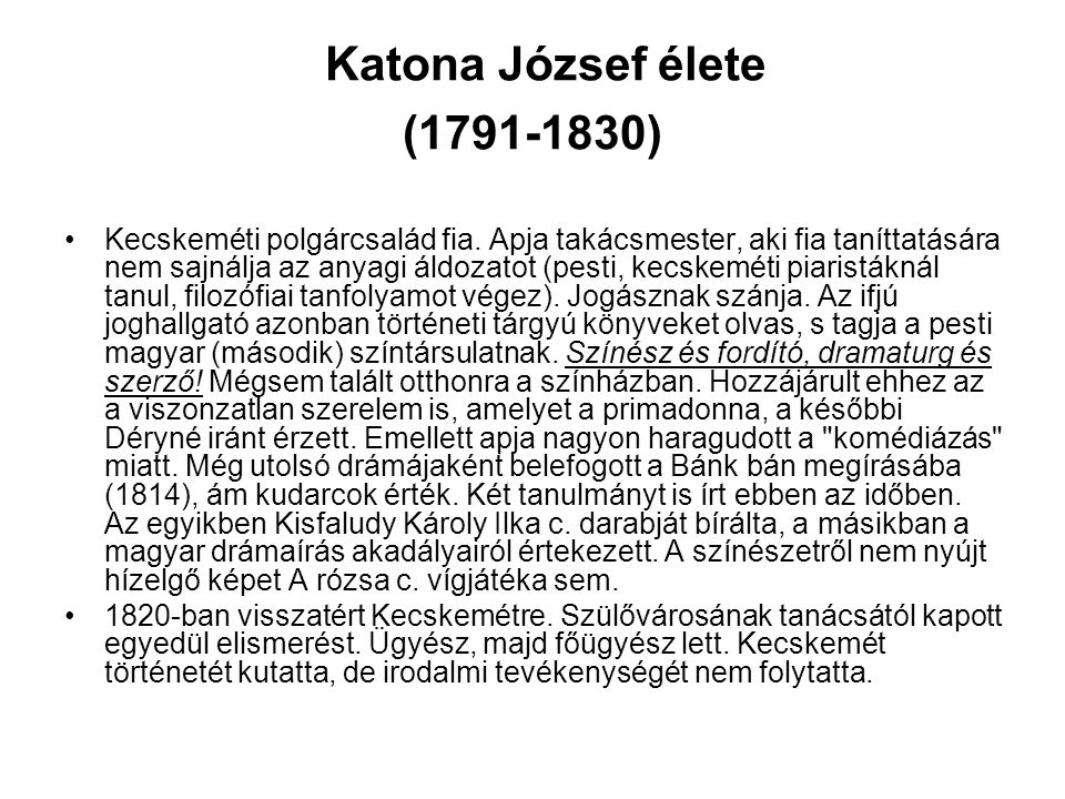 Katona József élete (1791-1830)