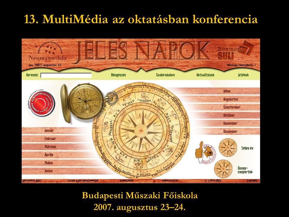 13. MultiMédia az oktatásban konferencia Budapesti Műszaki Főiskola
