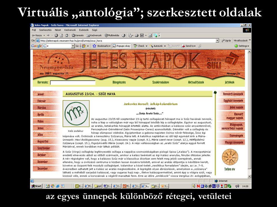 """Virtuális """"antológia ; szerkesztett oldalak"""