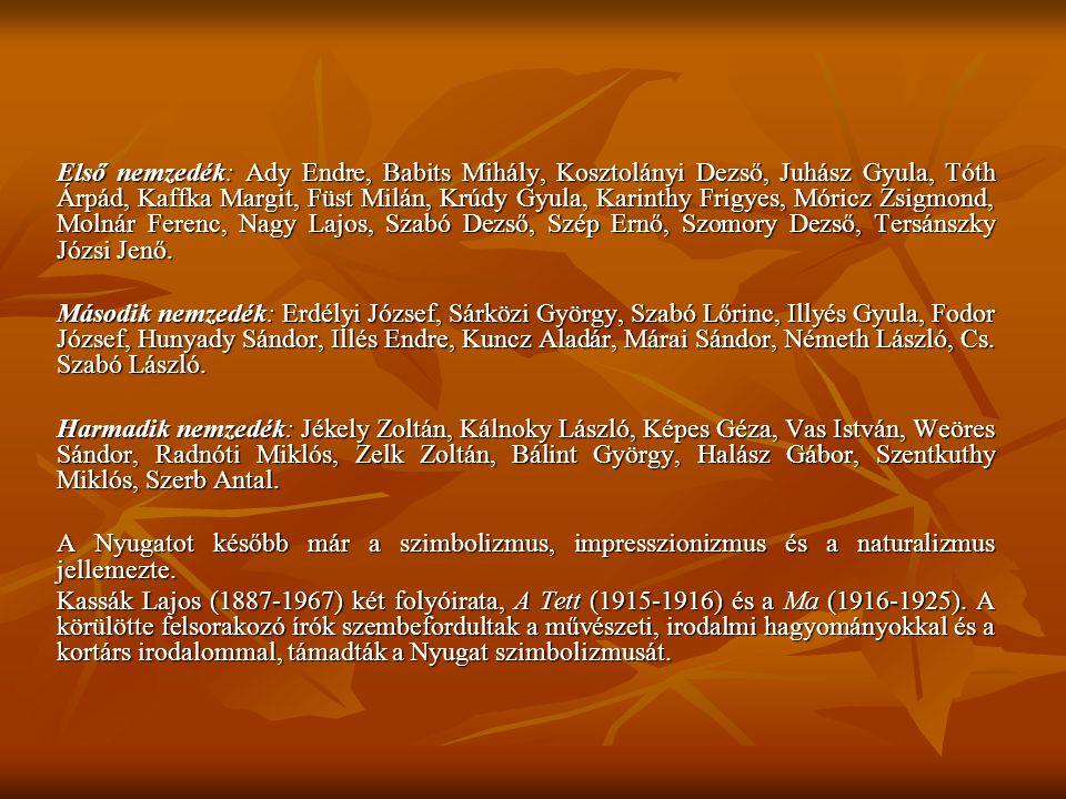 Első nemzedék: Ady Endre, Babits Mihály, Kosztolányi Dezső, Juhász Gyula, Tóth Árpád, Kaffka Margit, Füst Milán, Krúdy Gyula, Karinthy Frigyes, Móricz Zsigmond, Molnár Ferenc, Nagy Lajos, Szabó Dezső, Szép Ernő, Szomory Dezső, Tersánszky Józsi Jenő.
