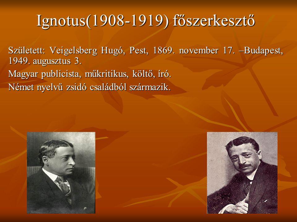 Ignotus(1908-1919) főszerkesztő
