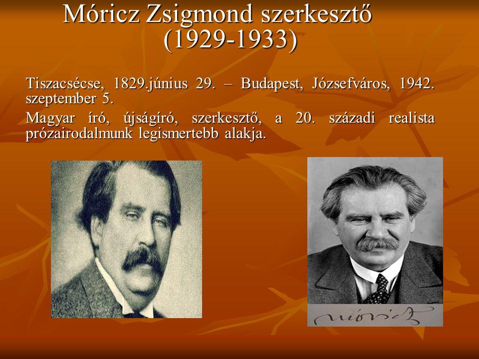 Móricz Zsigmond szerkesztő (1929-1933)