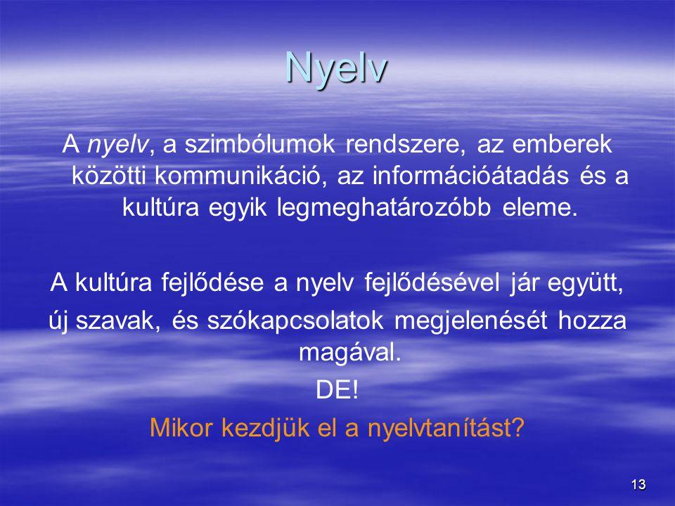 Nyelv A nyelv, a szimbólumok rendszere, az emberek közötti kommunikáció, az információátadás és a kultúra egyik legmeghatározóbb eleme.