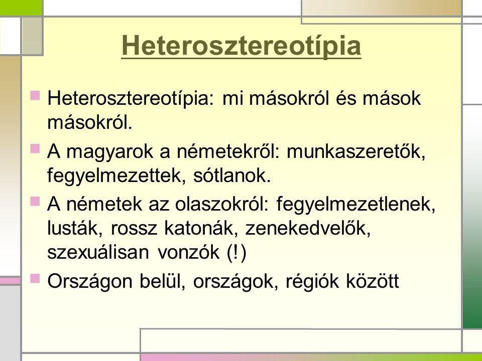 Heterosztereotípia Heterosztereotípia: mi másokról és mások másokról.