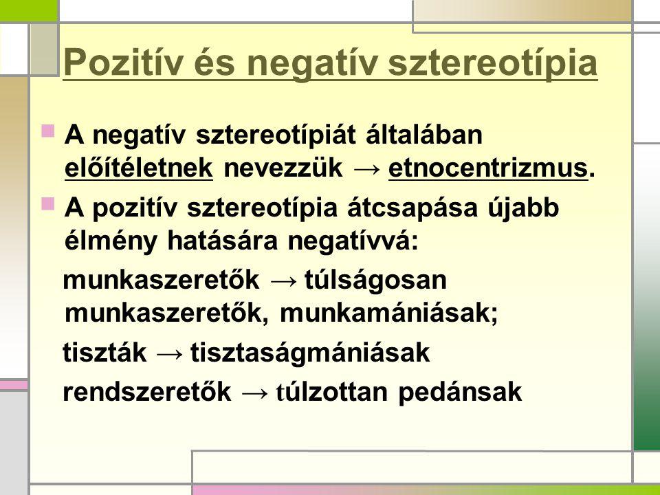 Pozitív és negatív sztereotípia