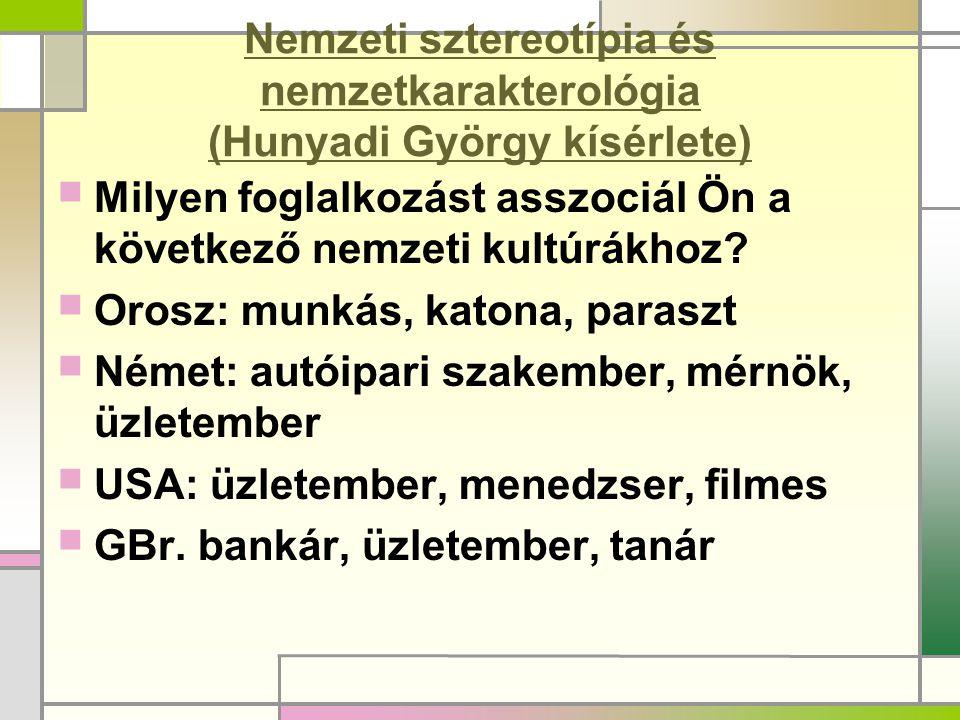 Nemzeti sztereotípia és nemzetkarakterológia (Hunyadi György kísérlete)
