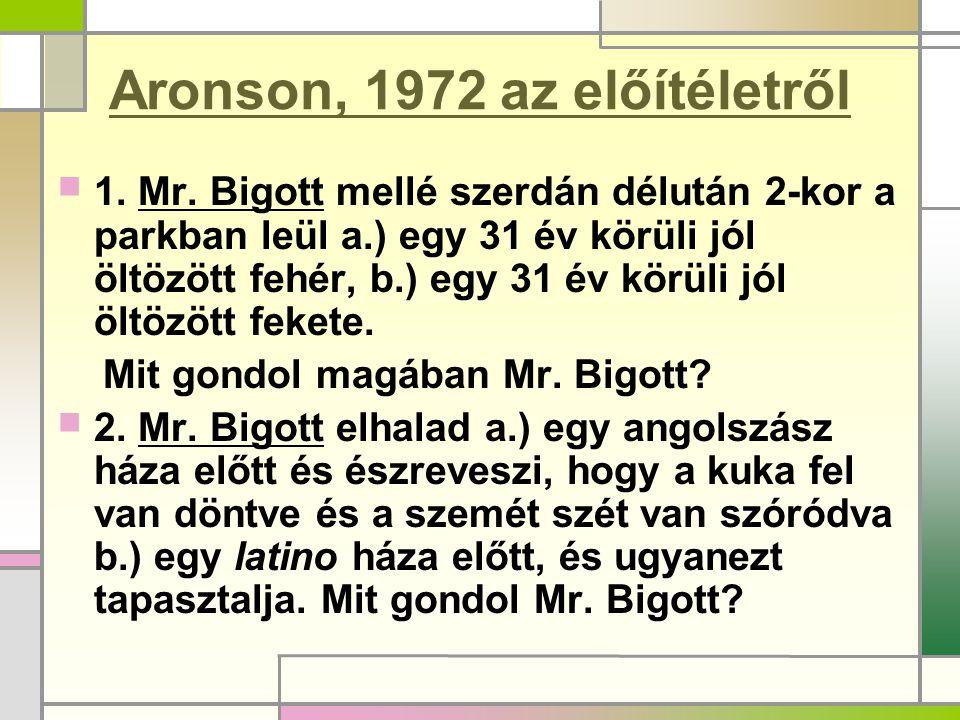 Aronson, 1972 az előítéletről