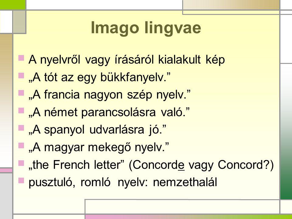 Imago lingvae A nyelvről vagy írásáról kialakult kép
