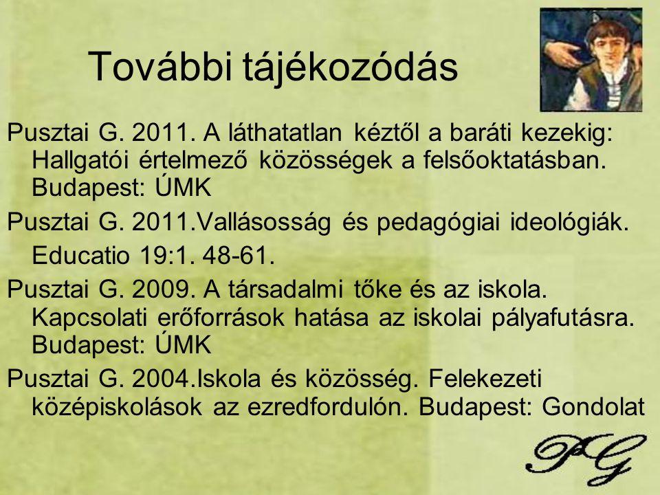 További tájékozódás Pusztai G. 2011. A láthatatlan kéztől a baráti kezekig: Hallgatói értelmező közösségek a felsőoktatásban. Budapest: ÚMK.