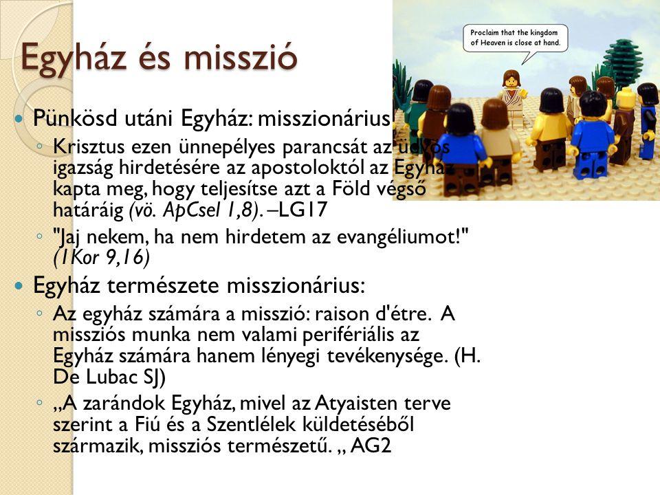 Egyház és misszió Pünkösd utáni Egyház: misszionárius