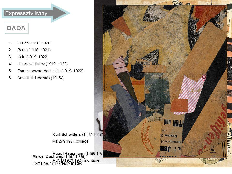 DADA Expresszív irány Zürich (1916–1920) Berlin (1918–1921)