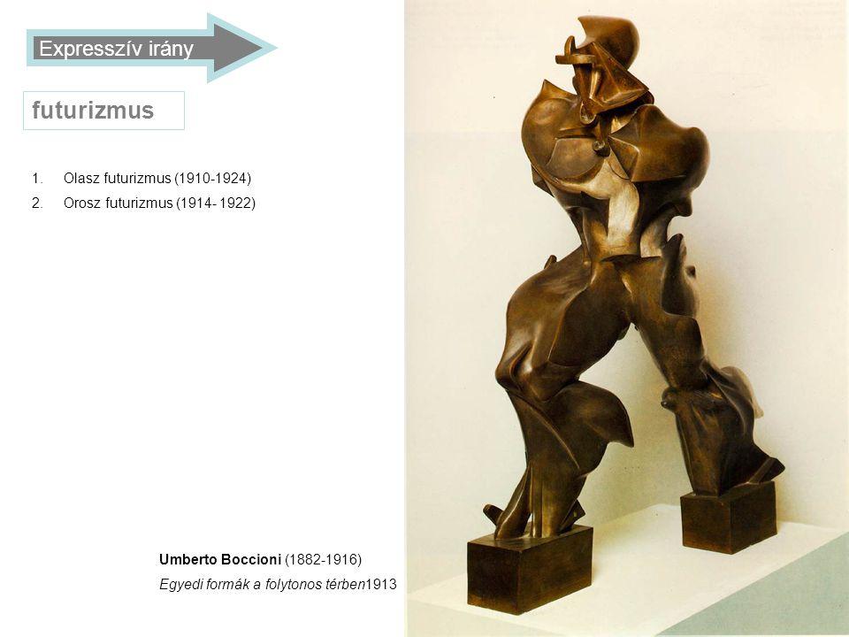 futurizmus Expresszív irány Olasz futurizmus (1910-1924)