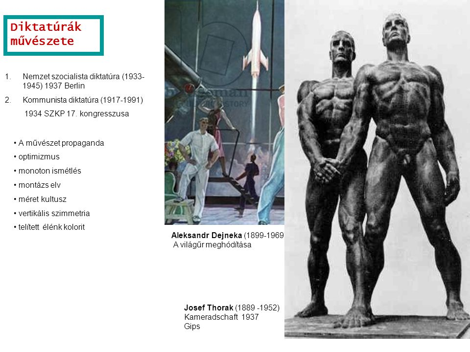 Aleksandr Dejneka (1899-1969) A világűr meghódítása. Josef Thorak (1889 -1952) Kameradschaft 1937 Gips.