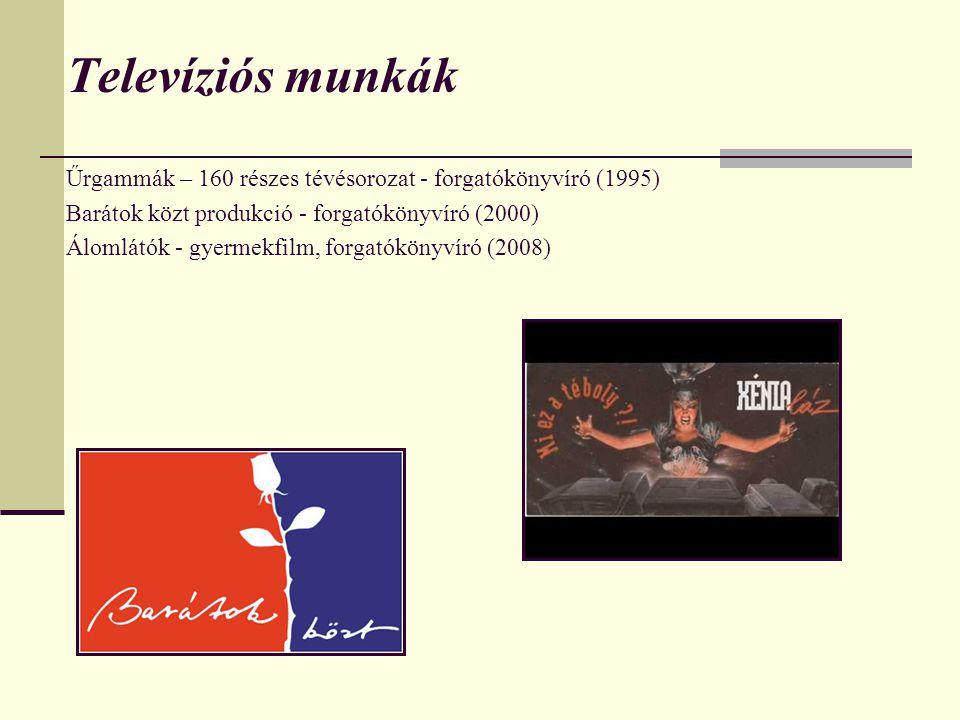 Televíziós munkák Űrgammák – 160 részes tévésorozat - forgatókönyvíró (1995) Barátok közt produkció - forgatókönyvíró (2000)