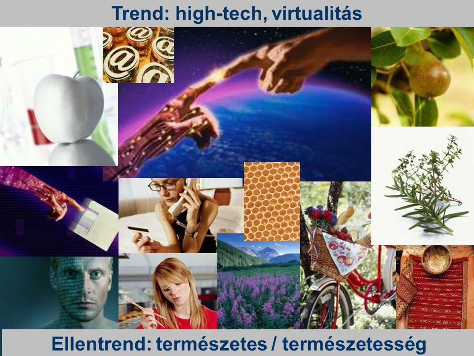 Trend: high-tech, virtualitás Ellentrend: természetes / természetesség