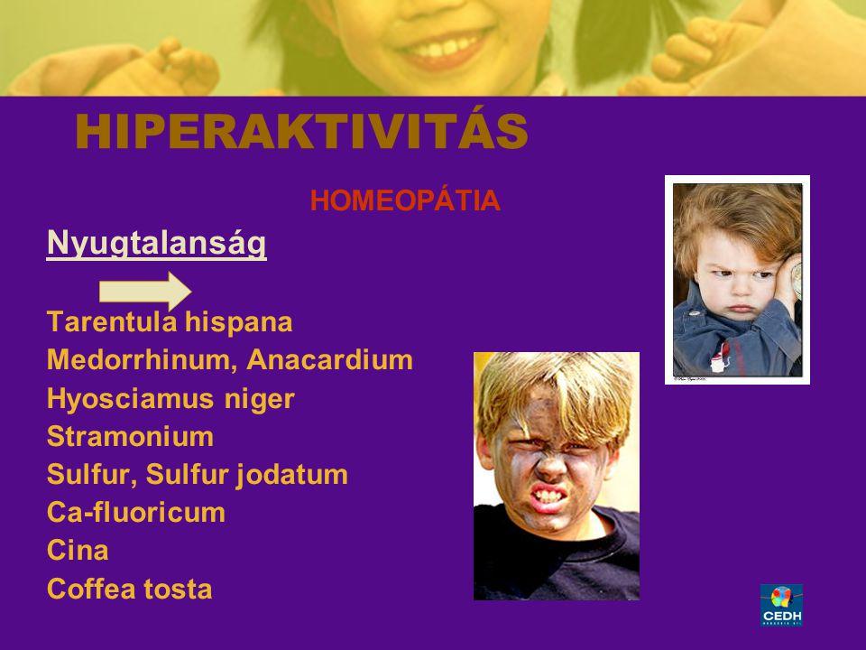 HIPERAKTIVITÁS Nyugtalanság HOMEOPÁTIA Tarentula hispana