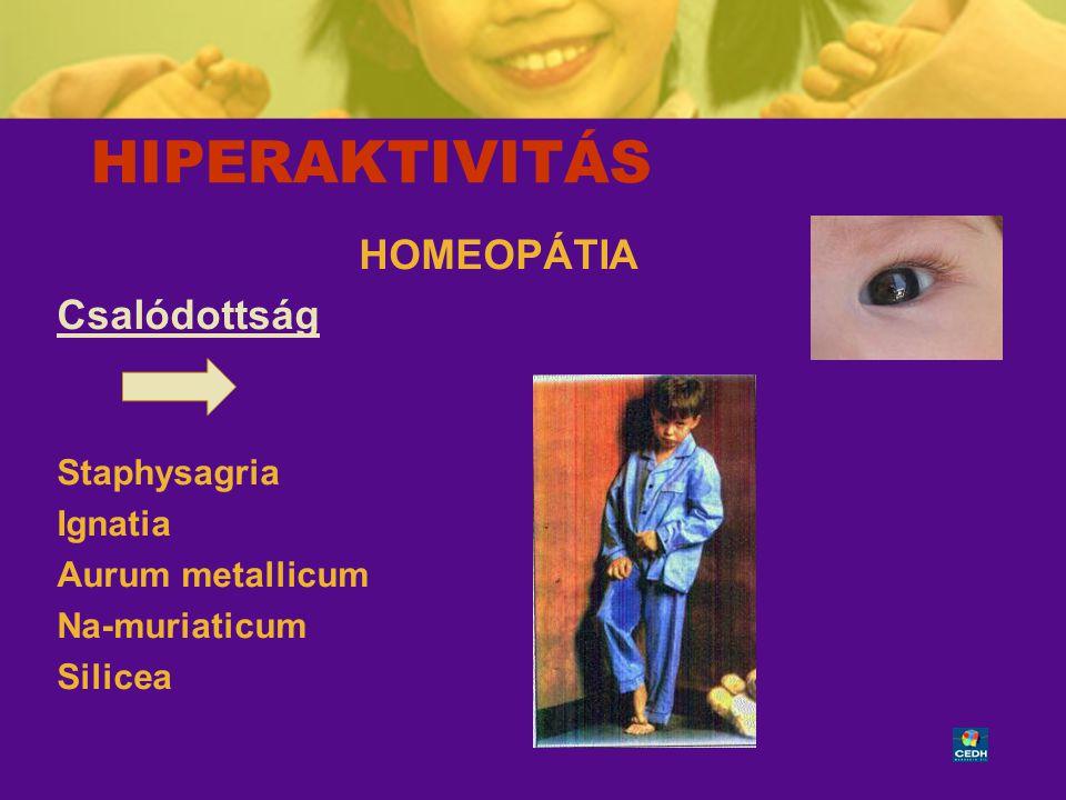 HIPERAKTIVITÁS HOMEOPÁTIA Csalódottság Staphysagria Ignatia
