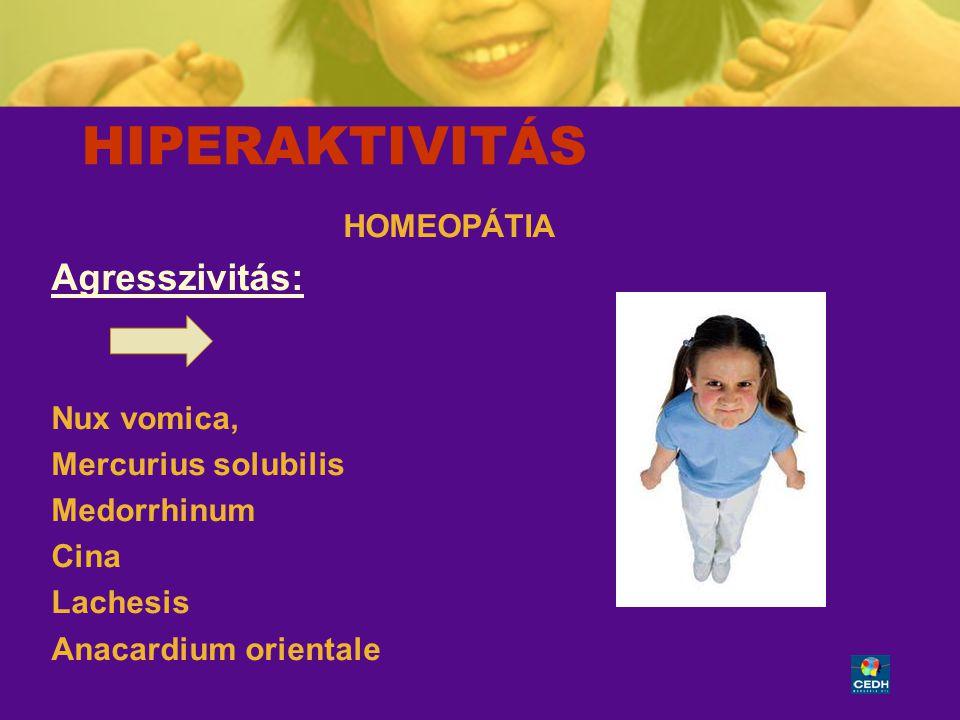 HIPERAKTIVITÁS Agresszivitás: HOMEOPÁTIA Nux vomica,