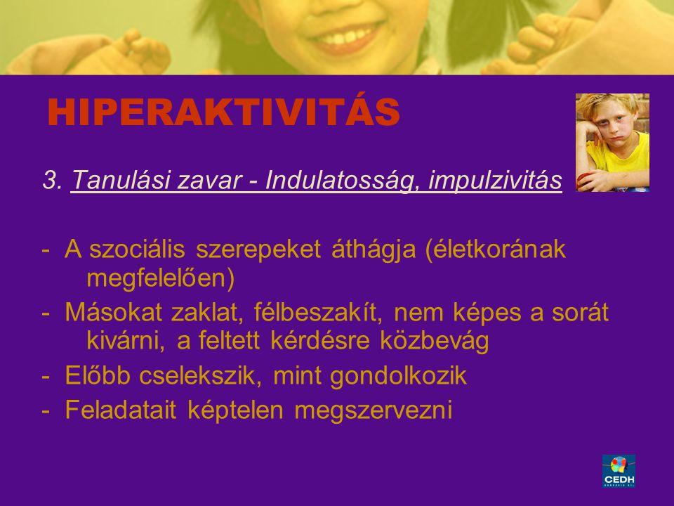 HIPERAKTIVITÁS 3. Tanulási zavar - Indulatosság, impulzivitás