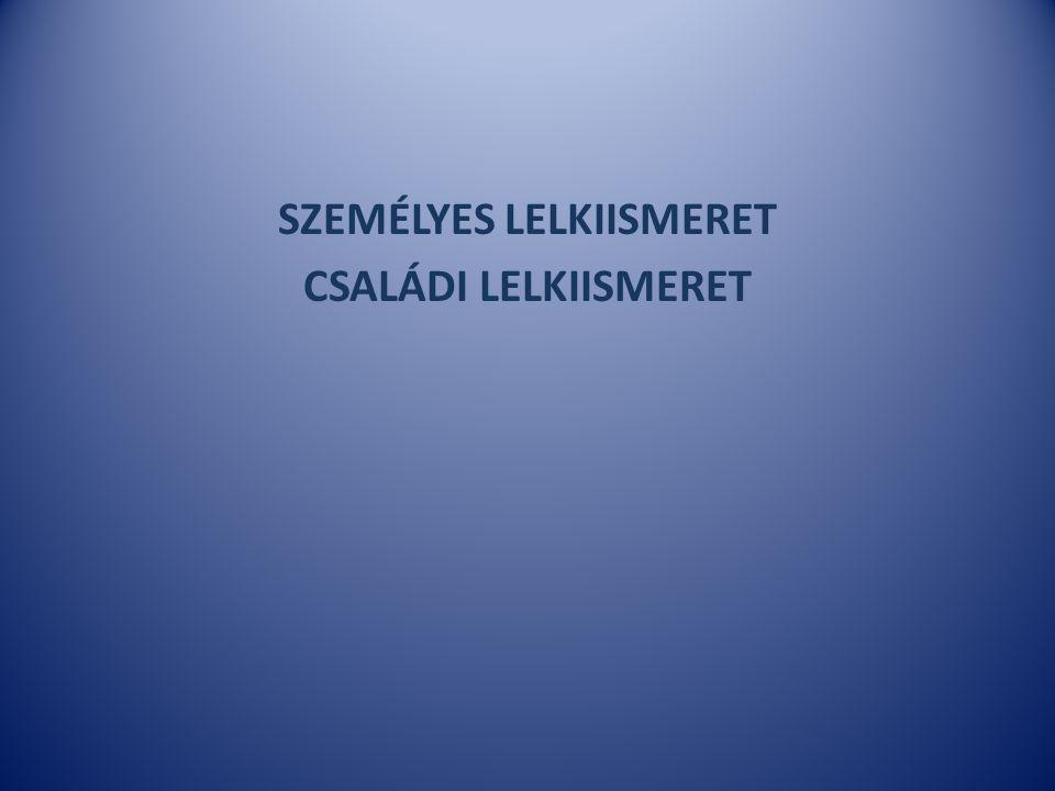 SZEMÉLYES LELKIISMERET CSALÁDI LELKIISMERET