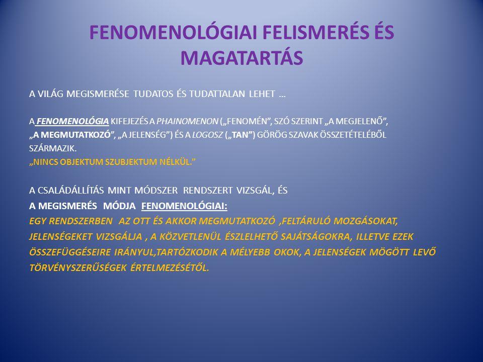 FENOMENOLÓGIAI FELISMERÉS ÉS MAGATARTÁS