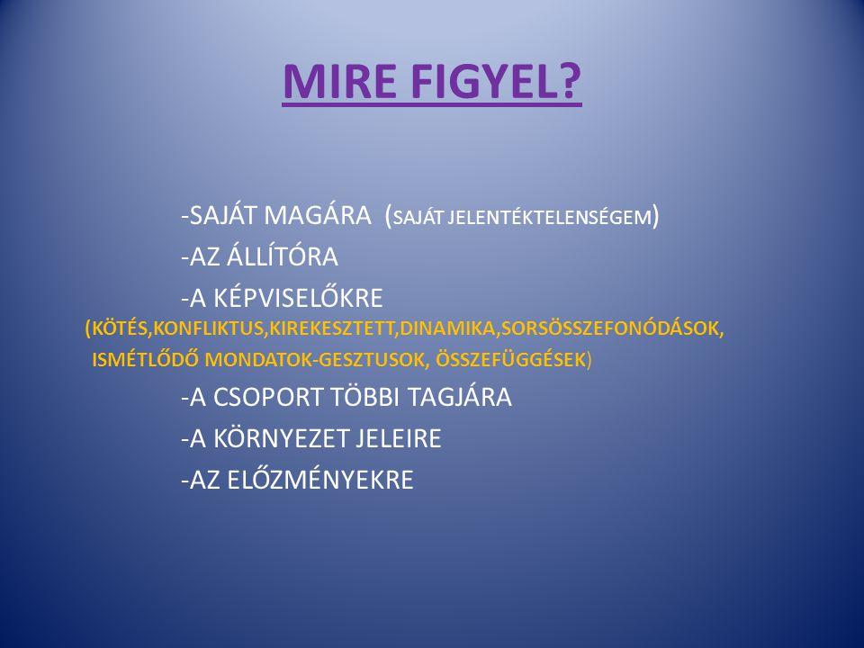 MIRE FIGYEL -SAJÁT MAGÁRA (SAJÁT JELENTÉKTELENSÉGEM) -AZ ÁLLÍTÓRA